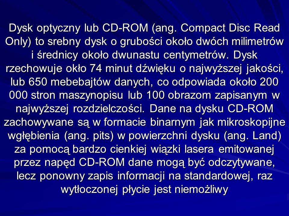 Dysk optyczny lub CD-ROM (ang