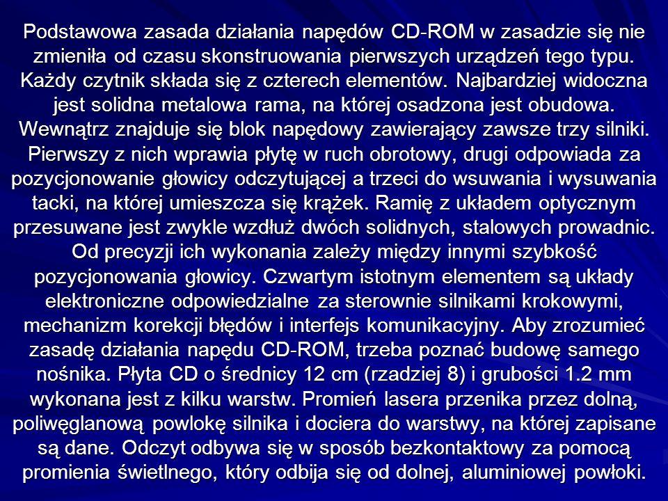 Podstawowa zasada działania napędów CD-ROM w zasadzie się nie zmieniła od czasu skonstruowania pierwszych urządzeń tego typu.