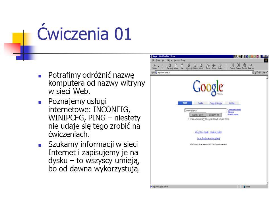 Ćwiczenia 01 Potrafimy odróżnić nazwę komputera od nazwy witryny w sieci Web.