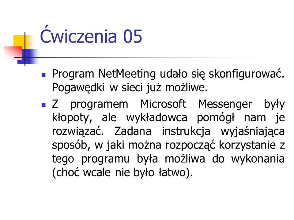 Ćwiczenia 05 Program NetMeeting udało się skonfigurować. Pogawędki w sieci już możliwe.