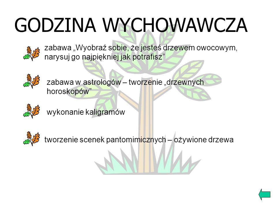 """GODZINA WYCHOWAWCZAzabawa """"Wyobraź sobie, że jesteś drzewem owocowym, narysuj go najpiękniej jak potrafisz"""