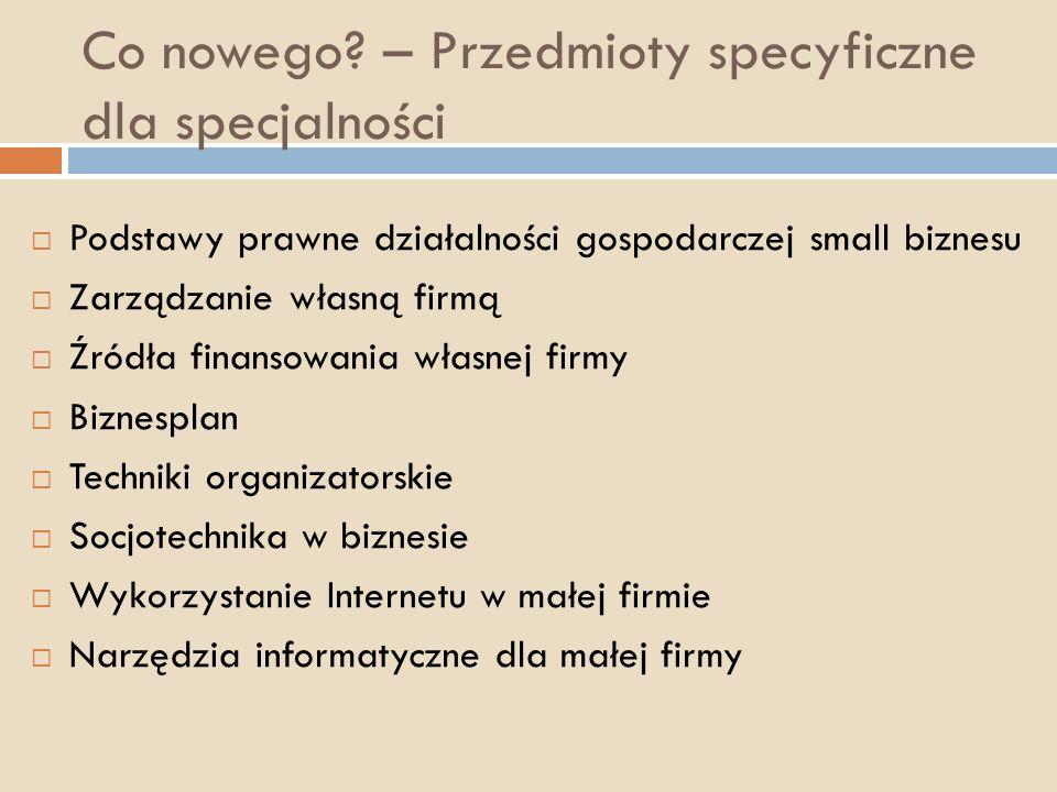 Co nowego – Przedmioty specyficzne dla specjalności