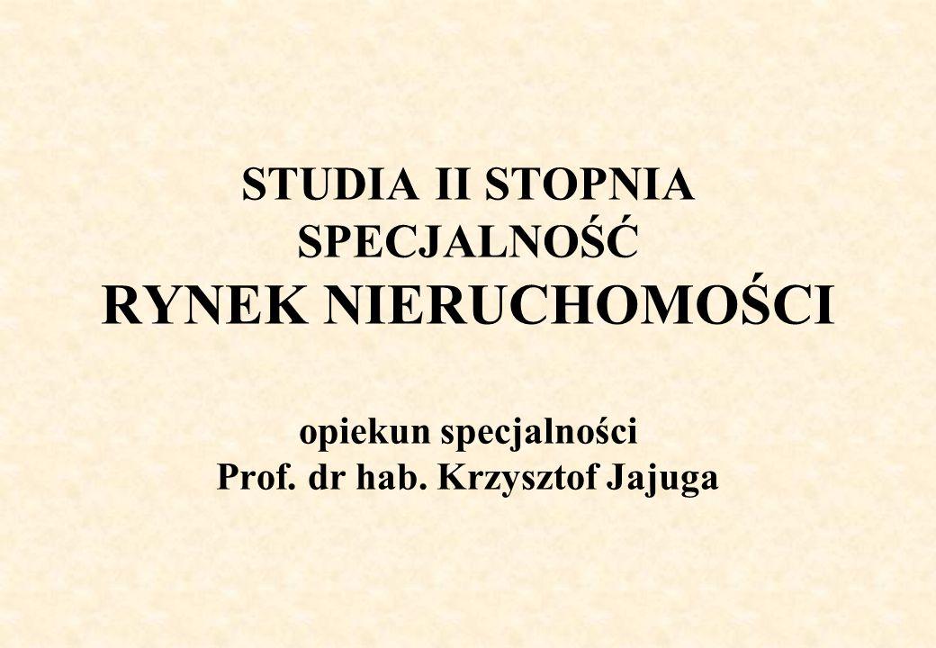 STUDIA II STOPNIA SPECJALNOŚĆ RYNEK NIERUCHOMOŚCI opiekun specjalności Prof.