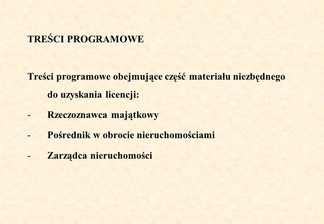 TREŚCI PROGRAMOWE Treści programowe obejmujące część materiału niezbędnego do uzyskania licencji: Rzeczoznawca majątkowy.