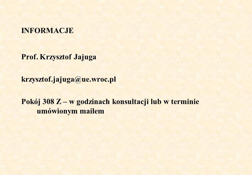 INFORMACJE Prof. Krzysztof Jajuga. krzysztof.jajuga@ue.wroc.pl.