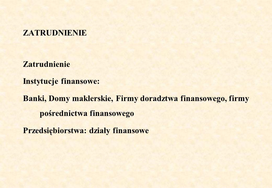 ZATRUDNIENIE Zatrudnienie. Instytucje finansowe: Banki, Domy maklerskie, Firmy doradztwa finansowego, firmy pośrednictwa finansowego.
