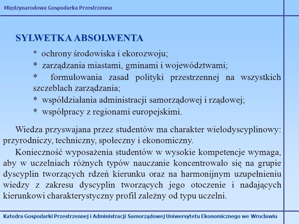 SYLWETKA ABSOLWENTA * zarządzania miastami, gminami i województwami;