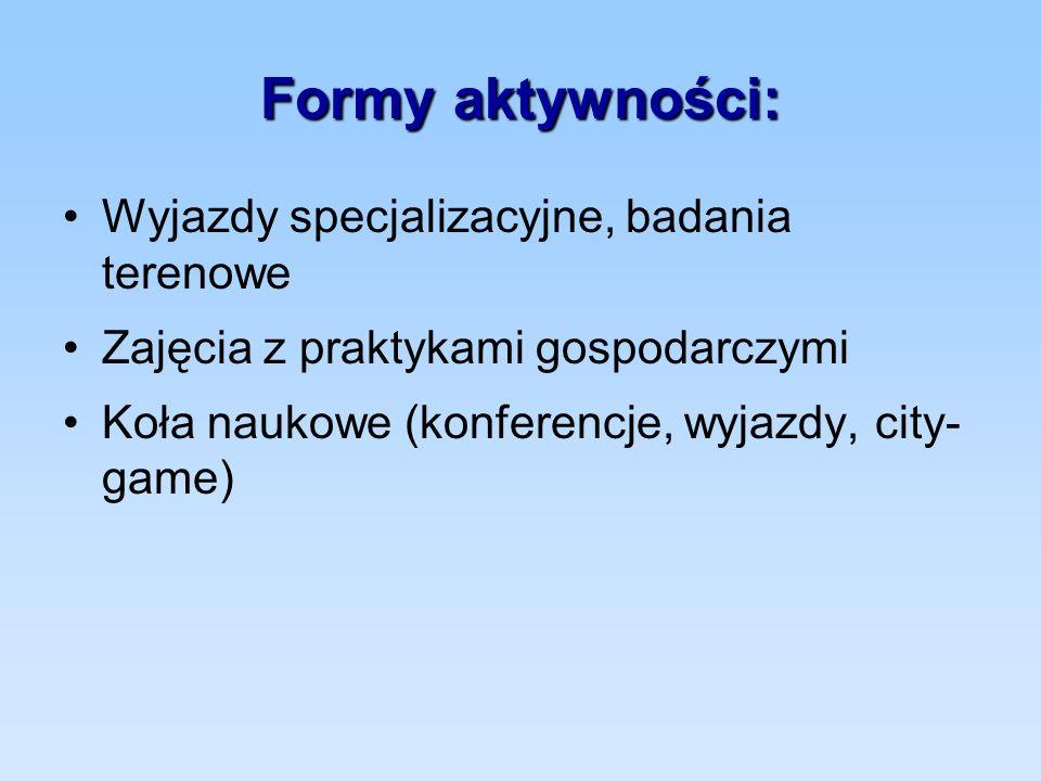 Formy aktywności: Wyjazdy specjalizacyjne, badania terenowe