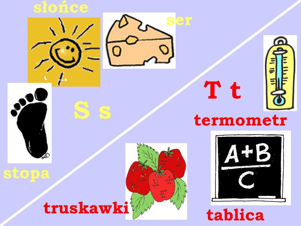 słońce ser T t S s termometr stopa truskawki tablica