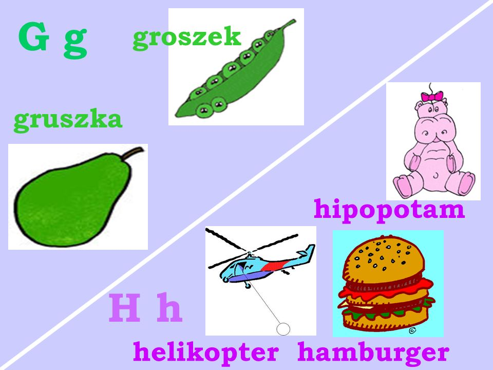G g groszek gruszka hipopotam H h helikopter hamburger