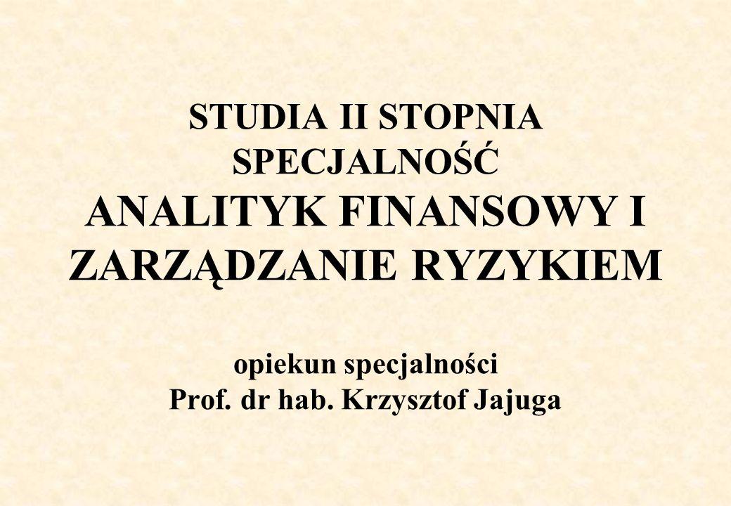 STUDIA II STOPNIA SPECJALNOŚĆ ANALITYK FINANSOWY I ZARZĄDZANIE RYZYKIEM opiekun specjalności Prof.