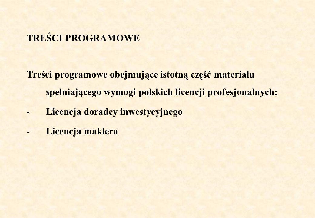 TREŚCI PROGRAMOWETreści programowe obejmujące istotną część materiału spełniającego wymogi polskich licencji profesjonalnych: