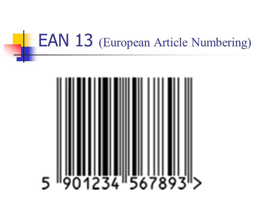 EAN 13 (European Article Numbering)