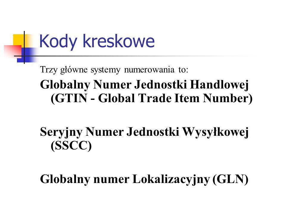 Kody kreskowe Trzy główne systemy numerowania to: Globalny Numer Jednostki Handlowej (GTIN - Global Trade Item Number)