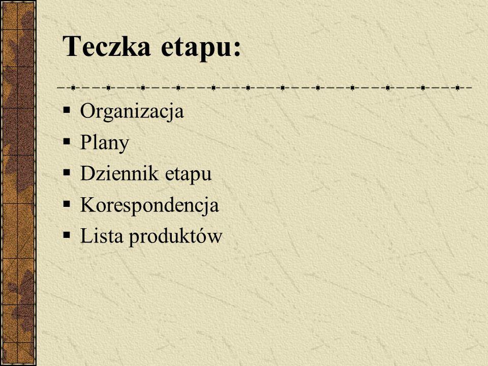 Teczka etapu: Organizacja Plany Dziennik etapu Korespondencja