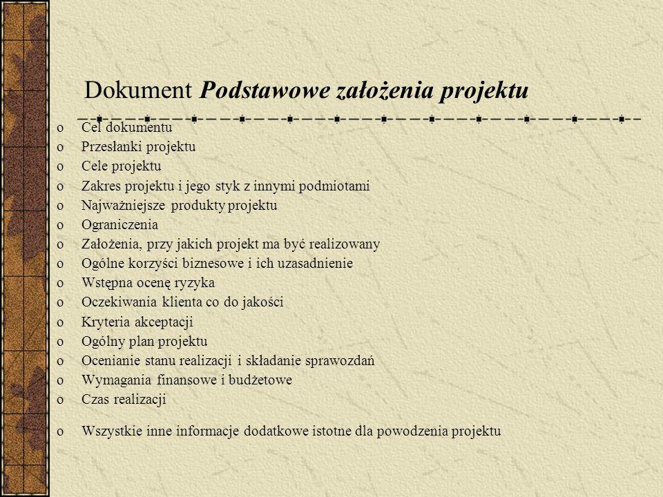Dokument Podstawowe założenia projektu