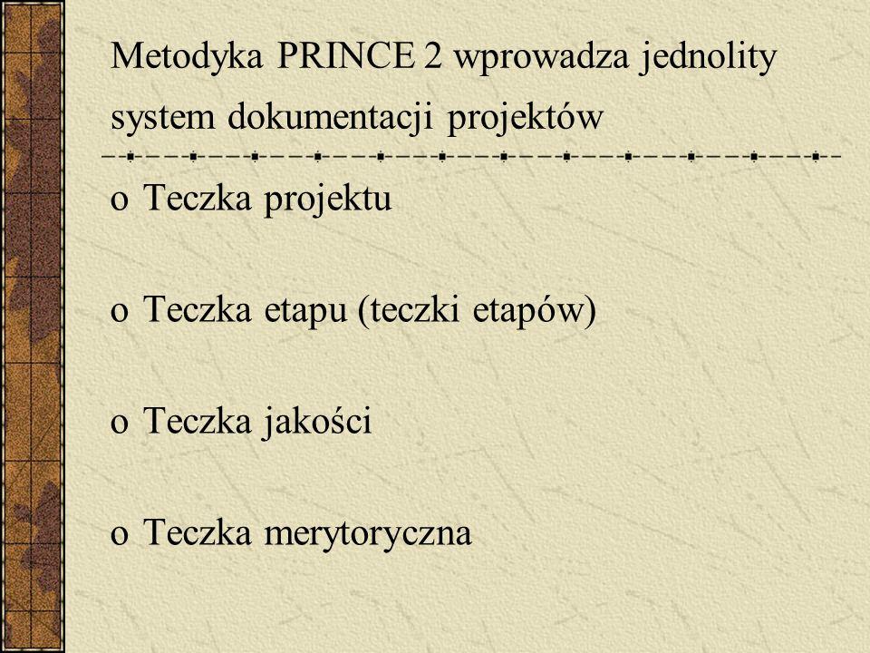 Metodyka PRINCE 2 wprowadza jednolity system dokumentacji projektów