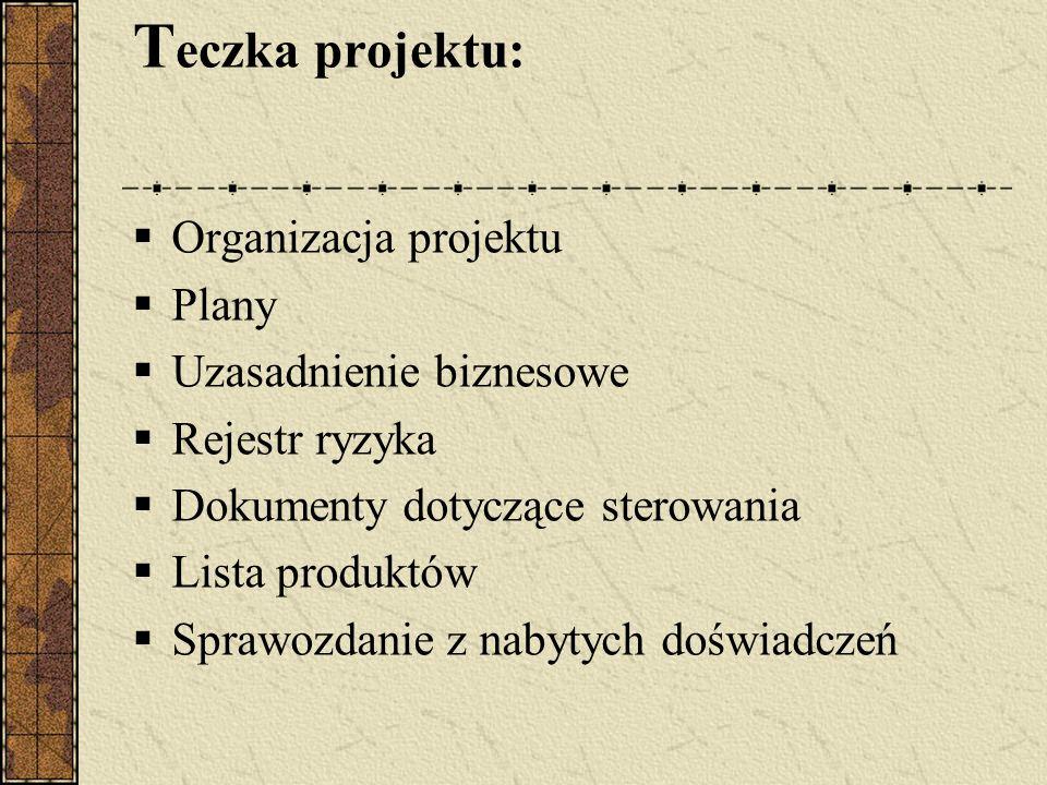 Teczka projektu: Organizacja projektu Plany Uzasadnienie biznesowe