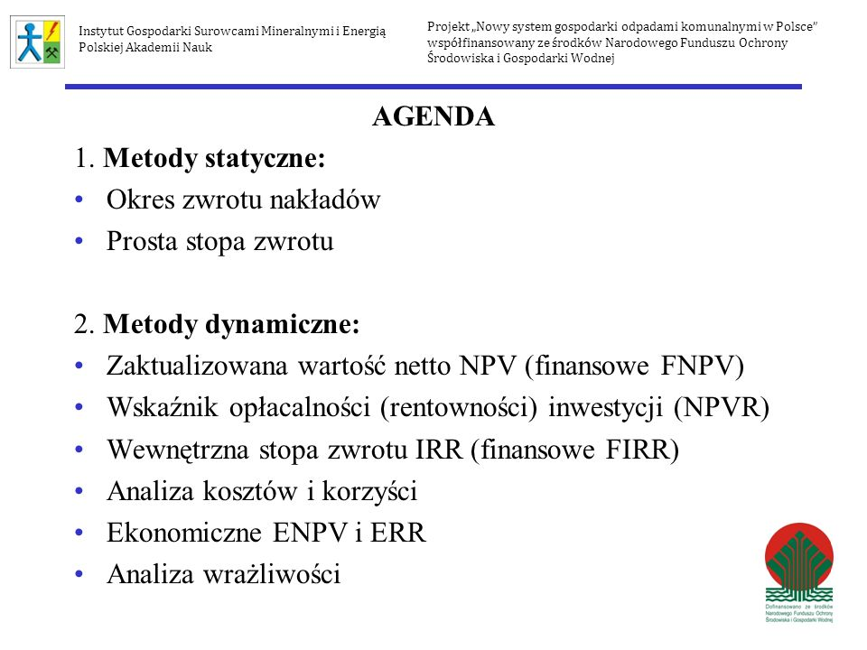 Zaktualizowana wartość netto NPV (finansowe FNPV)
