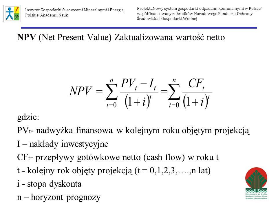 NPV (Net Present Value) Zaktualizowana wartość netto