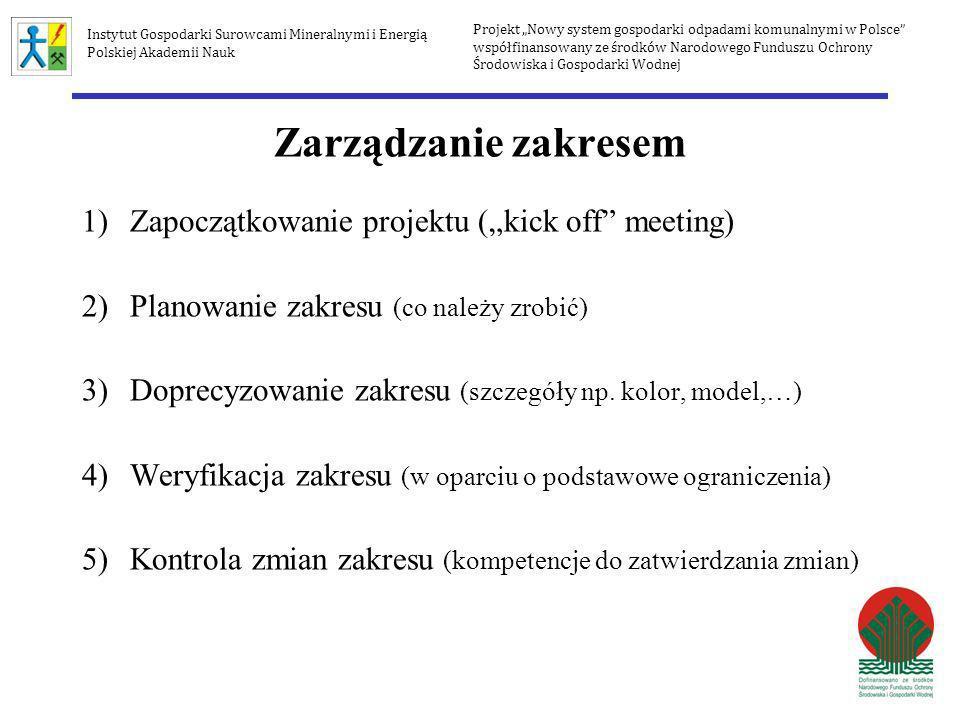 """Zarządzanie zakresem Zapoczątkowanie projektu (""""kick off meeting)"""