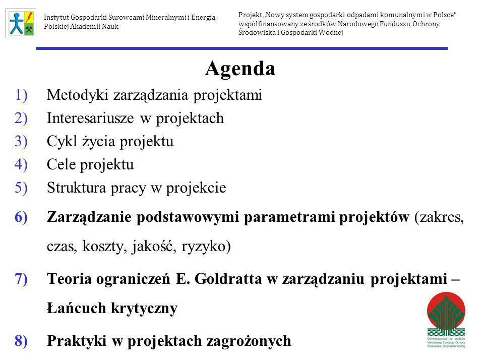 Agenda Metodyki zarządzania projektami Interesariusze w projektach