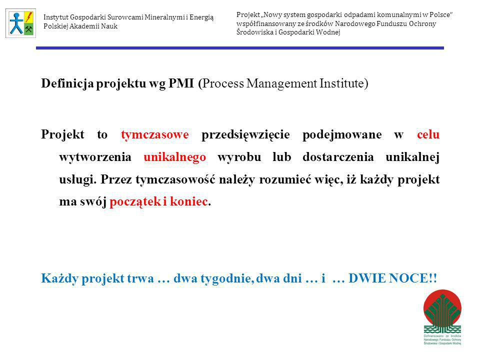 Definicja projektu wg PMI (Process Management Institute)