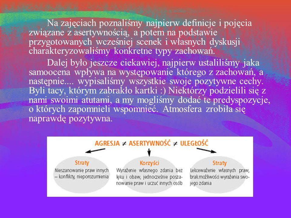Na zajęciach poznaliśmy najpierw definicje i pojęcia związane z asertywnością, a potem na podstawie przygotowanych wcześniej scenek i własnych dyskusji charakteryzowaliśmy konkretne typy zachowań.