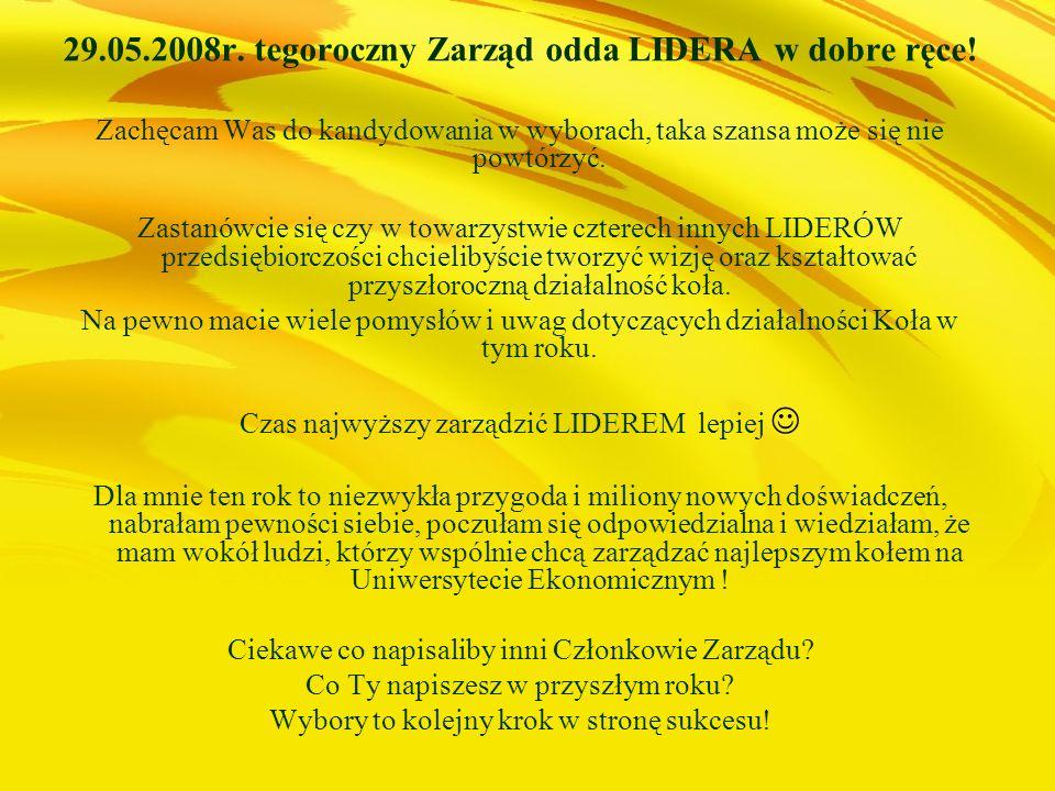 29.05.2008r. tegoroczny Zarząd odda LIDERA w dobre ręce!