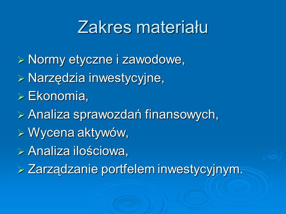 Zakres materiału Normy etyczne i zawodowe, Narzędzia inwestycyjne,