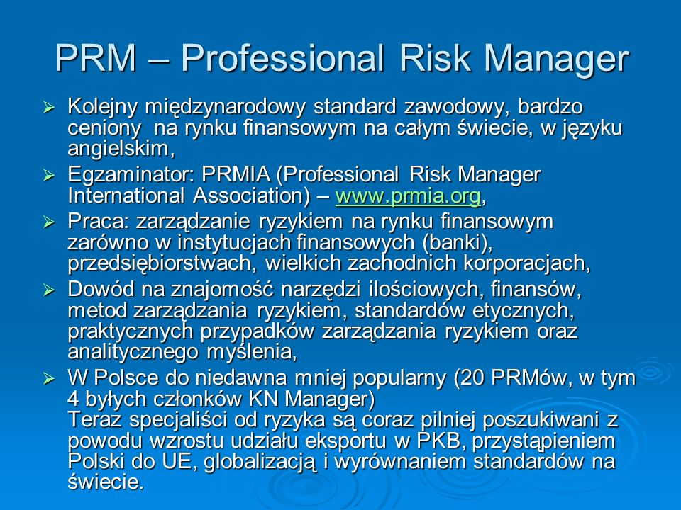 PRM – Professional Risk Manager