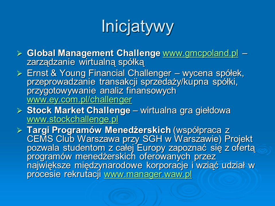 Inicjatywy Global Management Challenge www.gmcpoland.pl – zarządzanie wirtualną spółką.