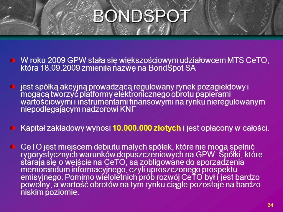 BONDSPOT W roku 2009 GPW stała się większościowym udziałowcem MTS CeTO, która 18.09.2009 zmieniła nazwę na BondSpot SA.