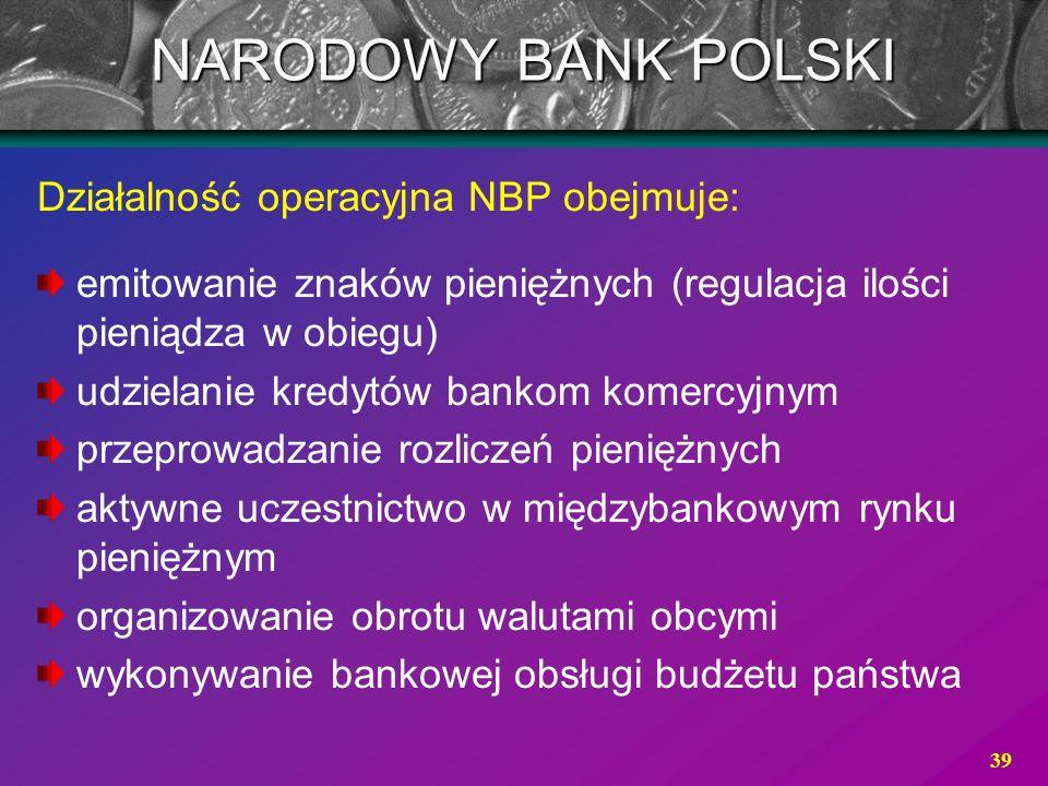 NARODOWY BANK POLSKI Działalność operacyjna NBP obejmuje: