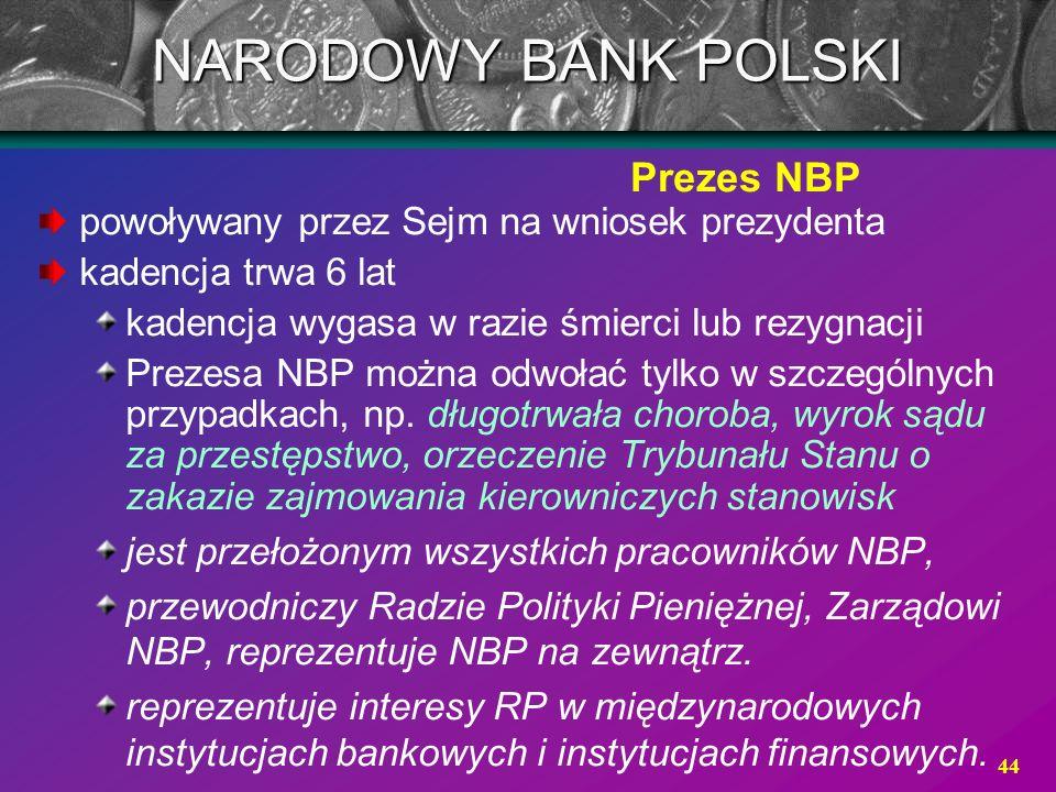 NARODOWY BANK POLSKI Prezes NBP