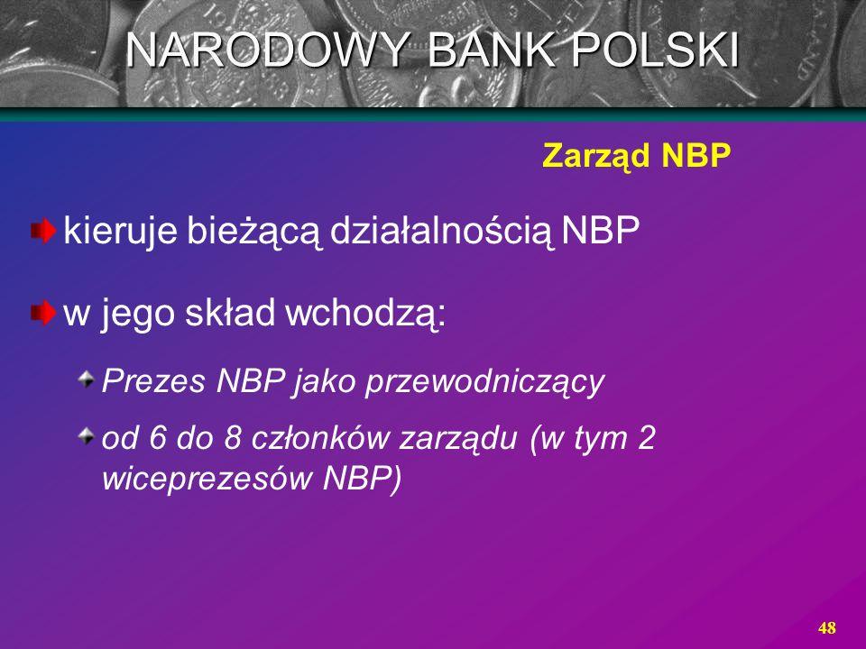 NARODOWY BANK POLSKI kieruje bieżącą działalnością NBP