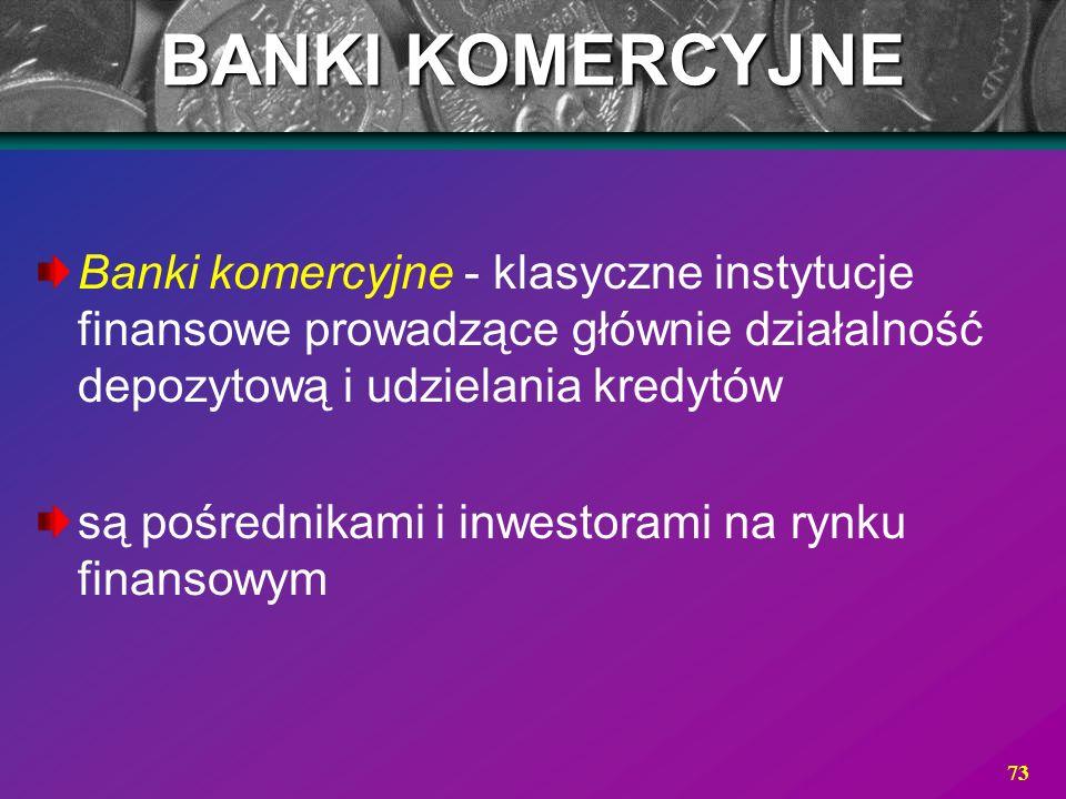 BANKI KOMERCYJNE Banki komercyjne - klasyczne instytucje finansowe prowadzące głównie działalność depozytową i udzielania kredytów.