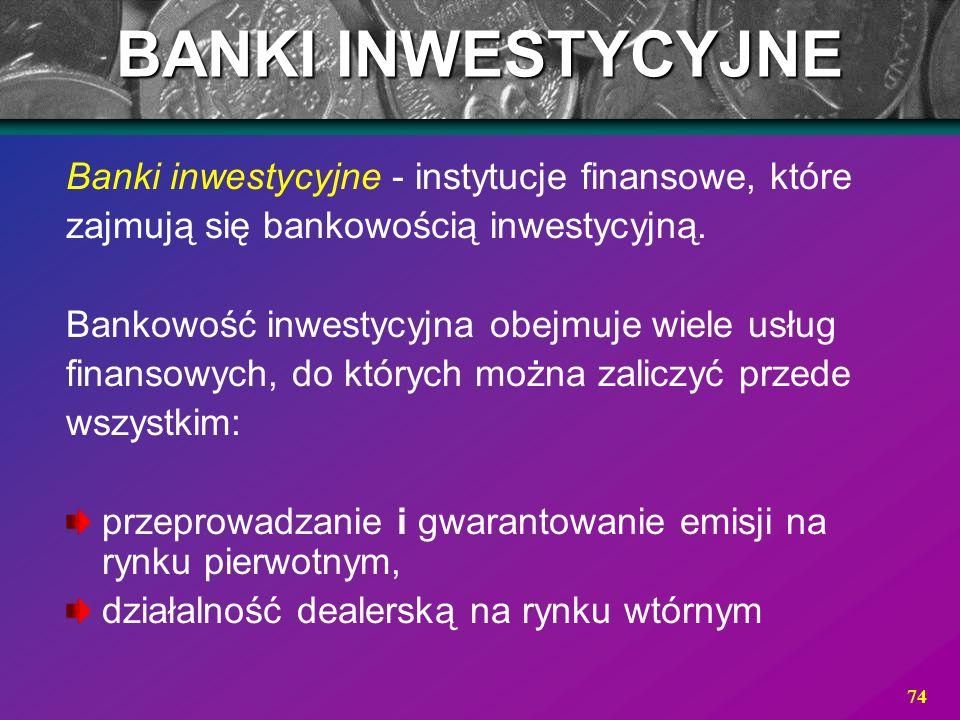 BANKI INWESTYCYJNE Banki inwestycyjne - instytucje finansowe, które