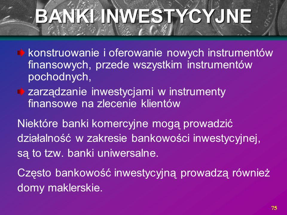 BANKI INWESTYCYJNE konstruowanie i oferowanie nowych instrumentów finansowych, przede wszystkim instrumentów pochodnych,