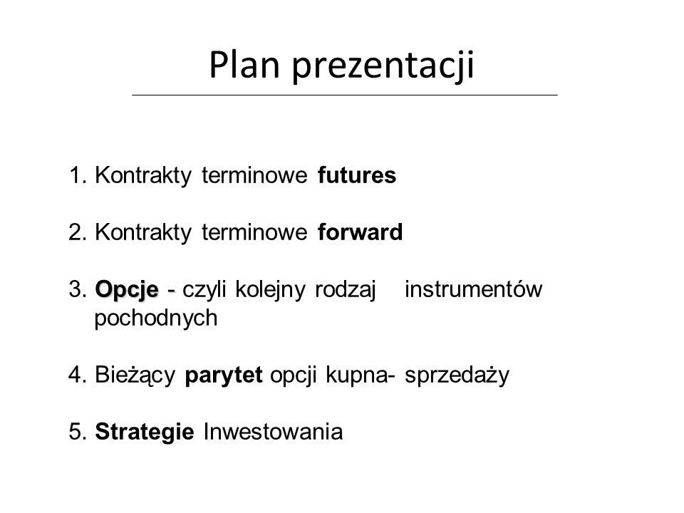 Plan prezentacji 1. Kontrakty terminowe futures