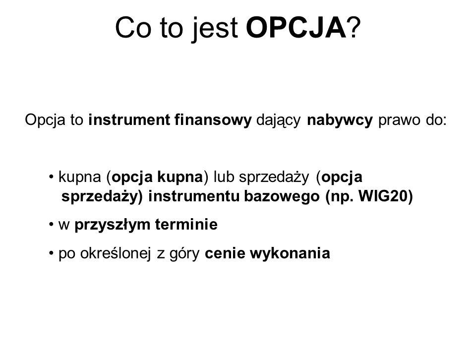 Co to jest OPCJA Opcja to instrument dający nabywcy prawo do: kupna (opcja kupna) lub sprzedaży (opcja sprzedaży)