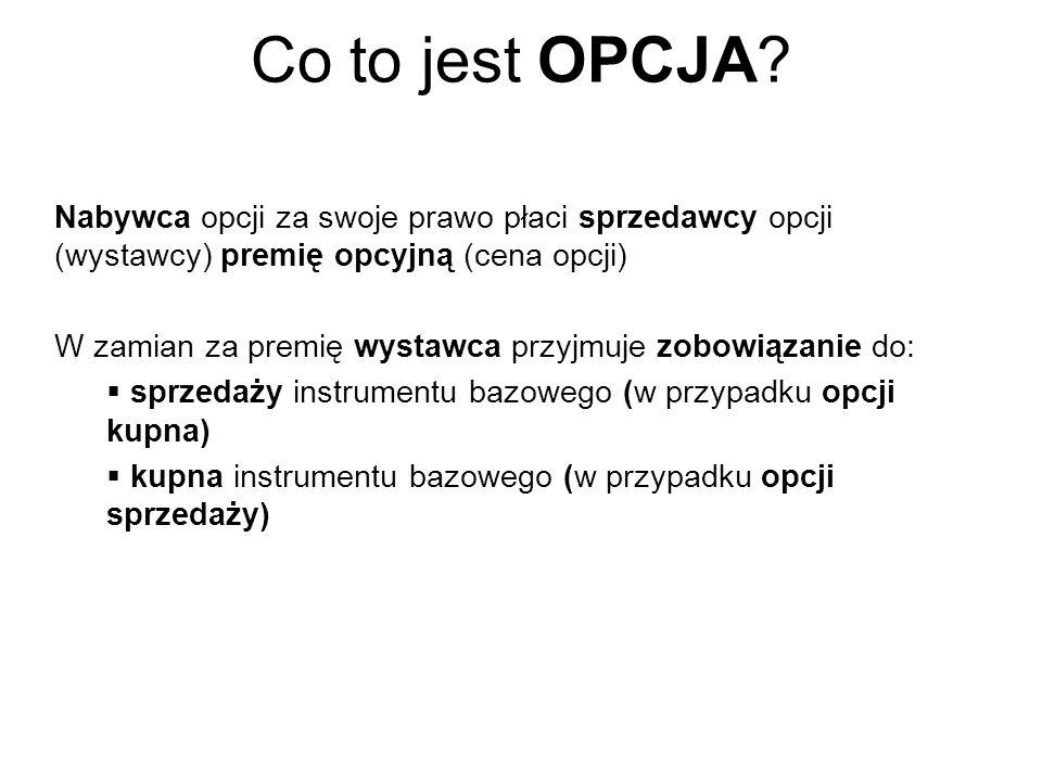 Co to jest OPCJA Nabywca opcji za swoje prawo płaci sprzedawcy opcji (wystawcy) premię opcyjną (cena opcji)