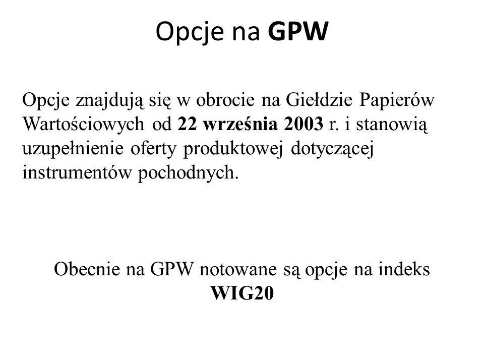 Obecnie na GPW notowane są opcje na indeks WIG20