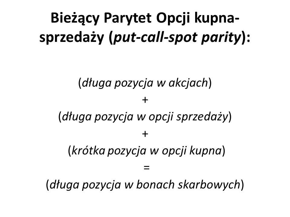 Bieżący Parytet Opcji kupna- sprzedaży (put-call-spot parity):