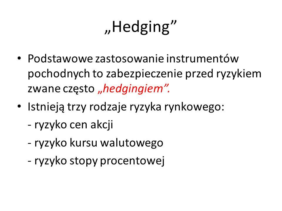 """""""Hedging Podstawowe zastosowanie instrumentów pochodnych to zabezpieczenie przed ryzykiem zwane często """"hedgingiem ."""