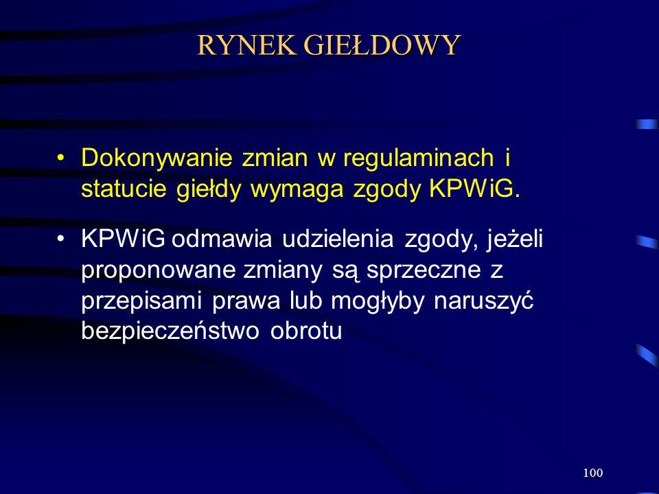 RYNEK GIEŁDOWY Dokonywanie zmian w regulaminach i statucie giełdy wymaga zgody KPWiG.