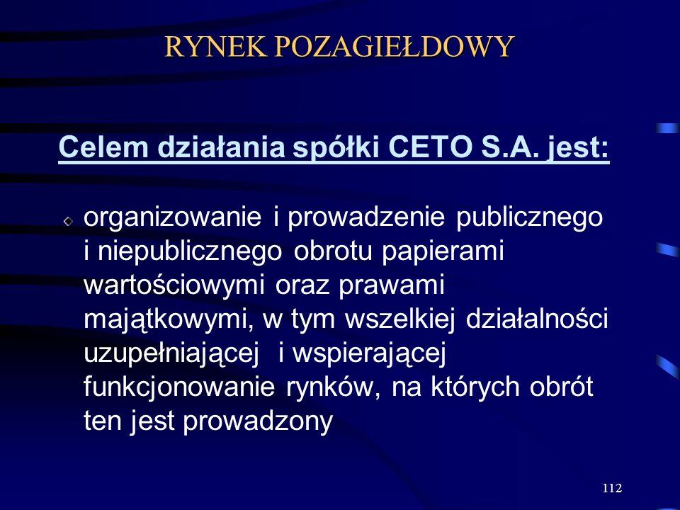 Celem działania spółki CETO S.A. jest: