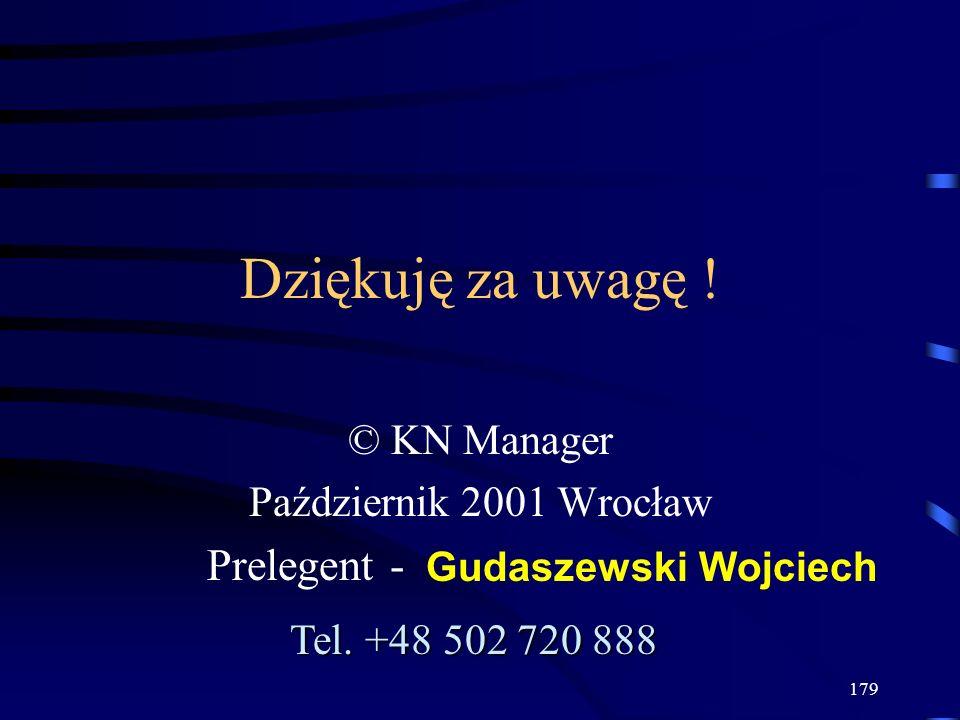 © KN Manager Październik 2001 Wrocław Prelegent -
