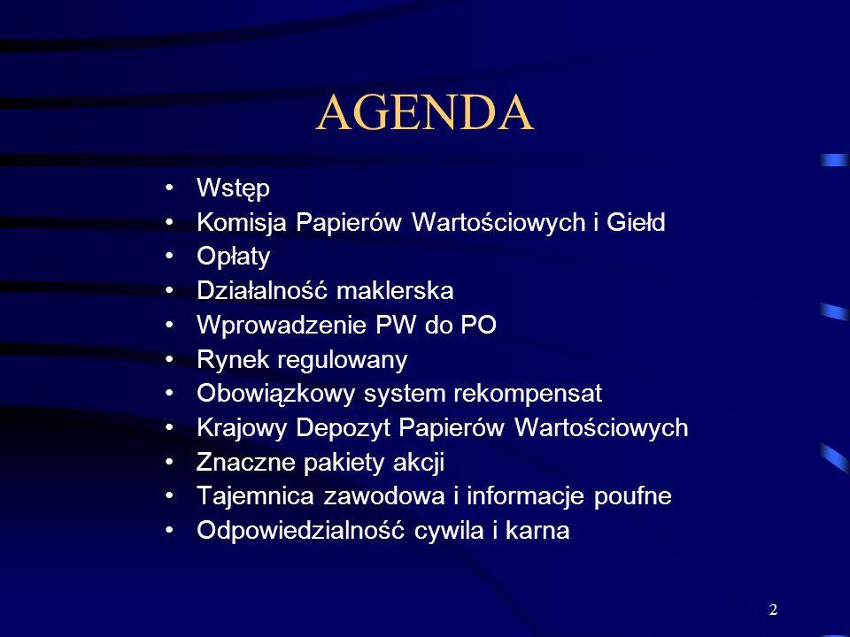 AGENDA Wstęp Komisja Papierów Wartościowych i Giełd Opłaty