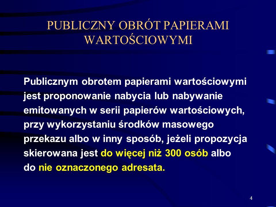 PUBLICZNY OBRÓT PAPIERAMI WARTOŚCIOWYMI